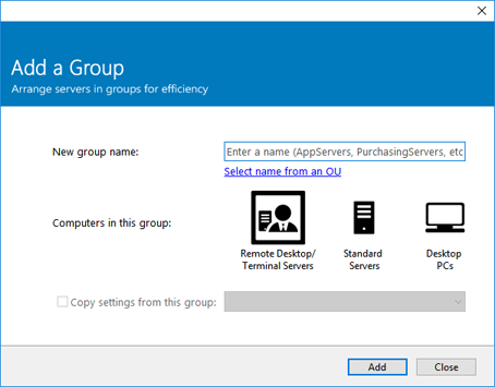 Add a Group dialog